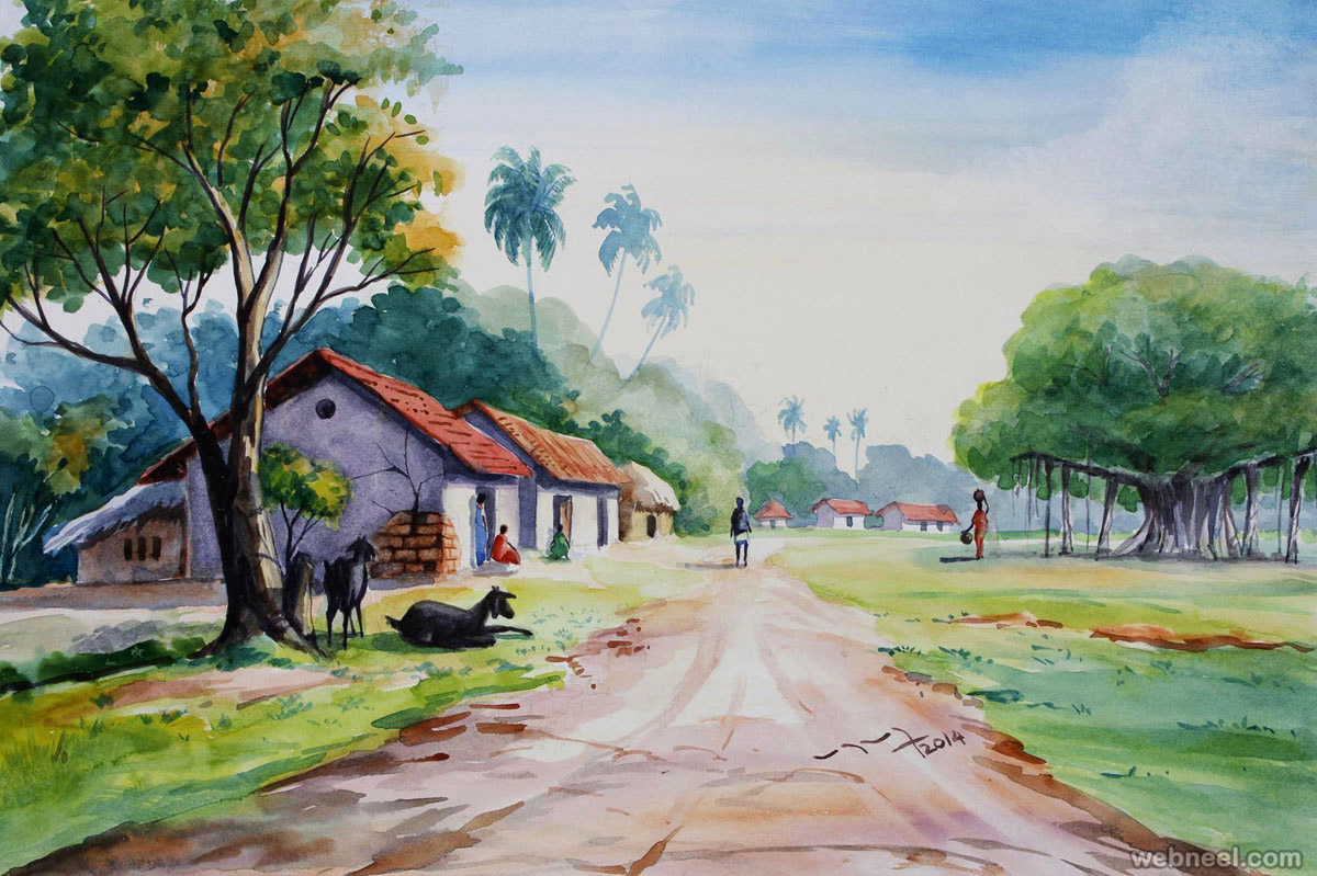 Watercolor Painting Ideas Of Village ...