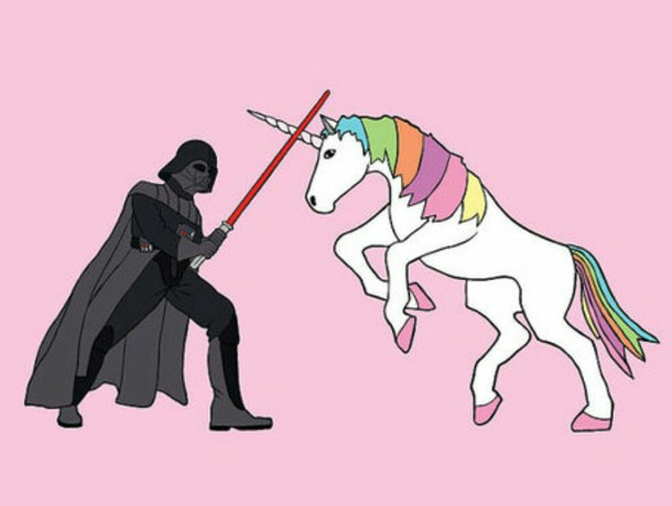 Cute Star Wars Wallpaper Cute Funny Pink Star Wars Fighting Unicorn 610x459 Download Hd Wallpaper Wallpapertip