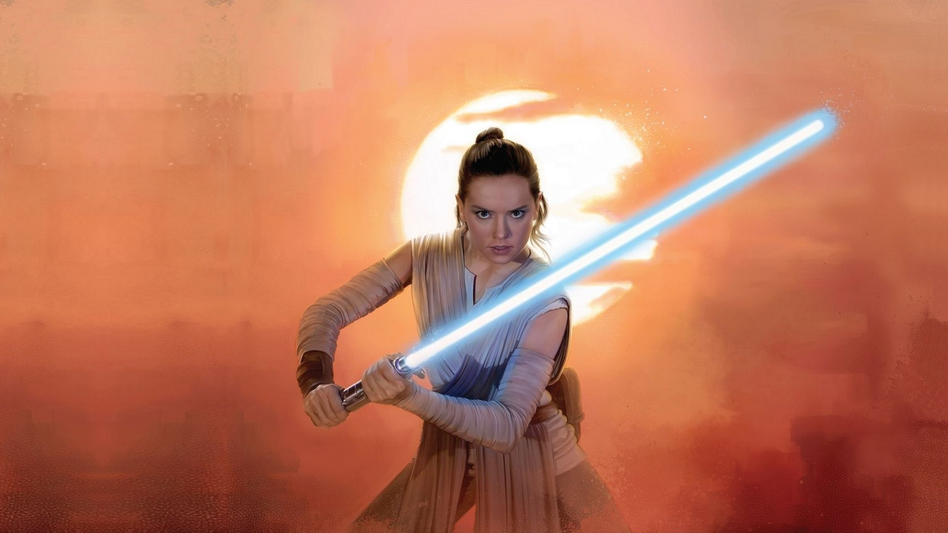 Daisy Ridley Rey Star Wars Lightsaber Jedi Wallpapers Star Wars Rey Wallpaper Hd 1920x1080 Download Hd Wallpaper Wallpapertip