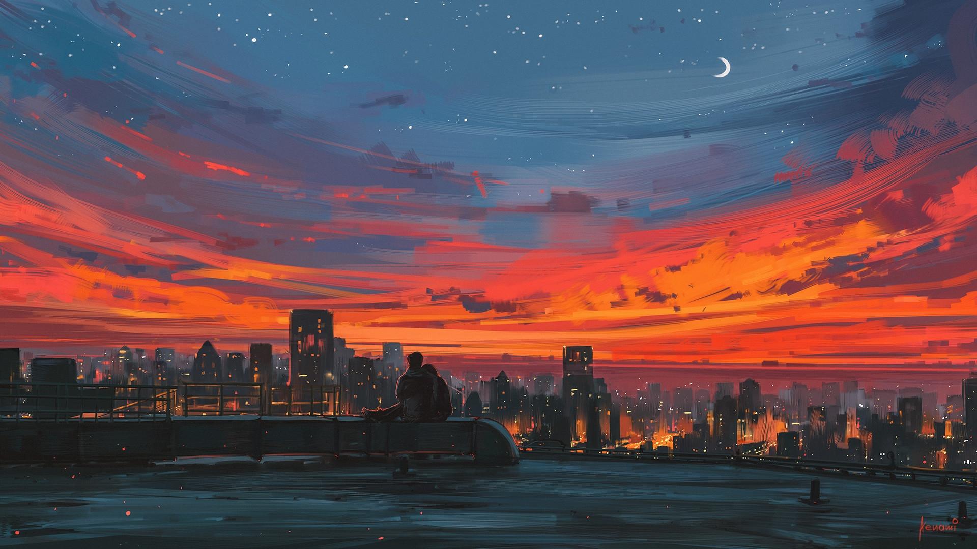 aesthetic desktop wallpaper sunset