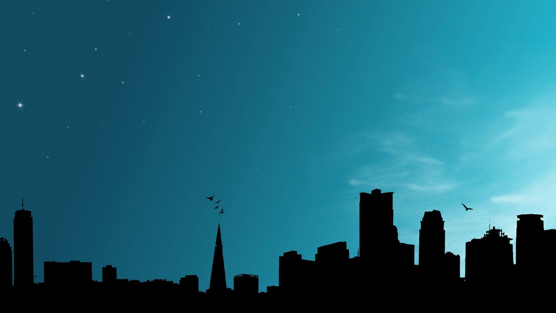 夜の街のシルエット 壁紙tumblr Hd 19x1080 Wallpapertip