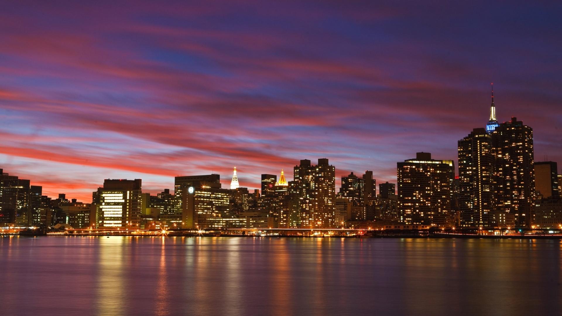 Skyline New York New York City Sunset Background 1920x1080 Download Hd Wallpaper Wallpapertip