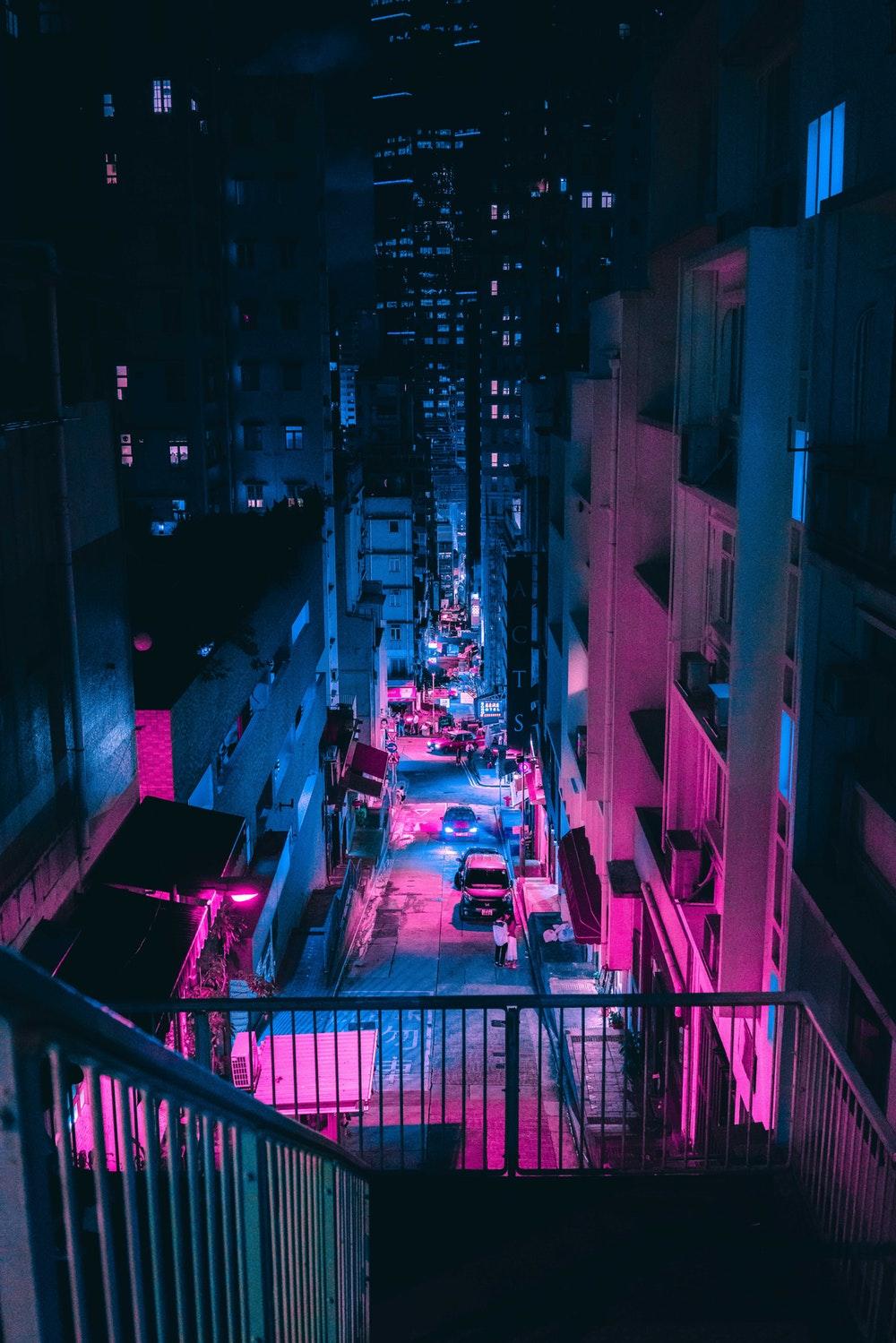 Steve Roe Vaporwave Cyberpunk Photography Pink And Blue Neon 818x1226 Download Hd Wallpaper Wallpapertip