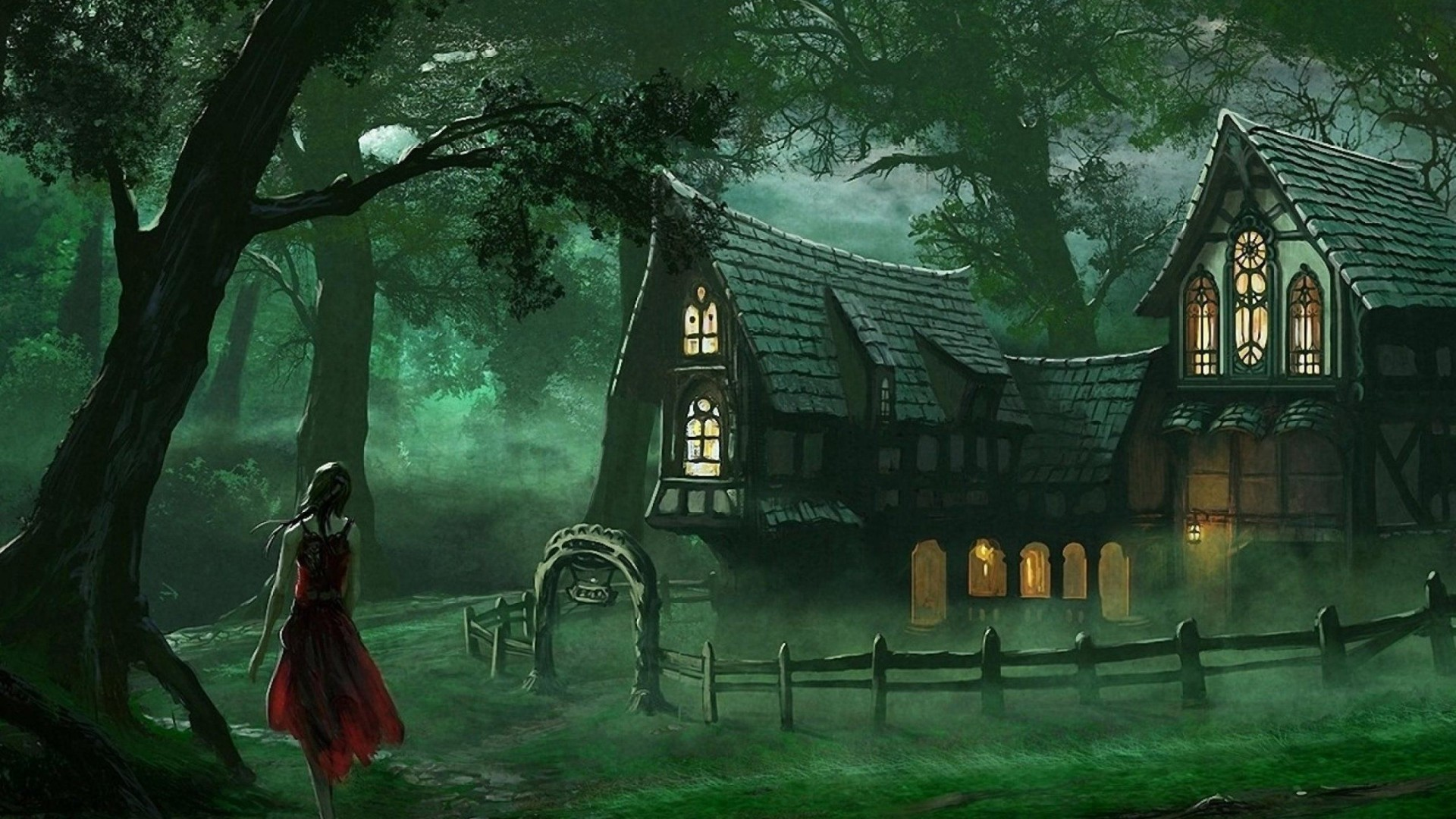 Spooky House Fantasy Forest Wallpaper Hd 1920 1080 1920x1080 Download Hd Wallpaper Wallpapertip